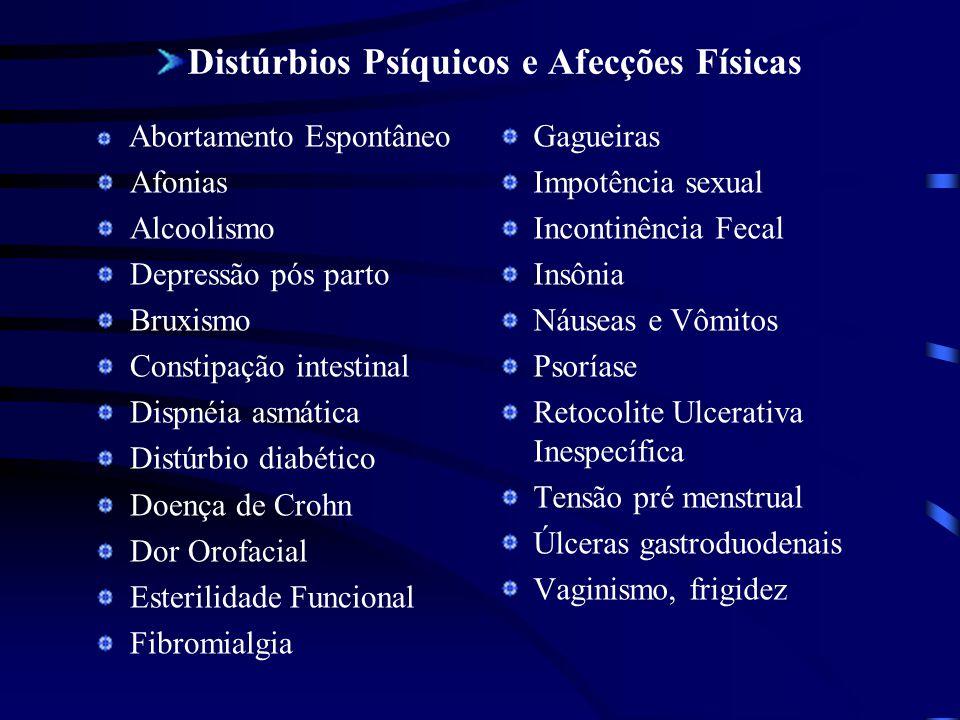 Distúrbios Psíquicos e Afecções Físicas Abortamento Espontâneo Afonias Alcoolismo Depressão pós parto Bruxismo Constipação intestinal Dispnéia asmátic