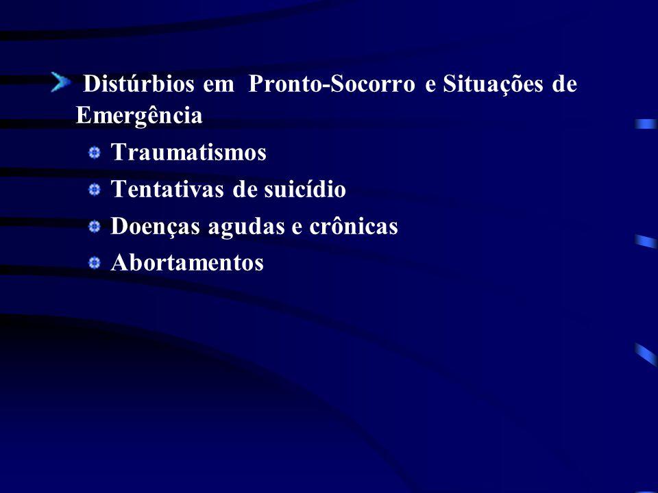 Distúrbios em Pronto-Socorro e Situações de Emergência Traumatismos Tentativas de suicídio Doenças agudas e crônicas Abortamentos