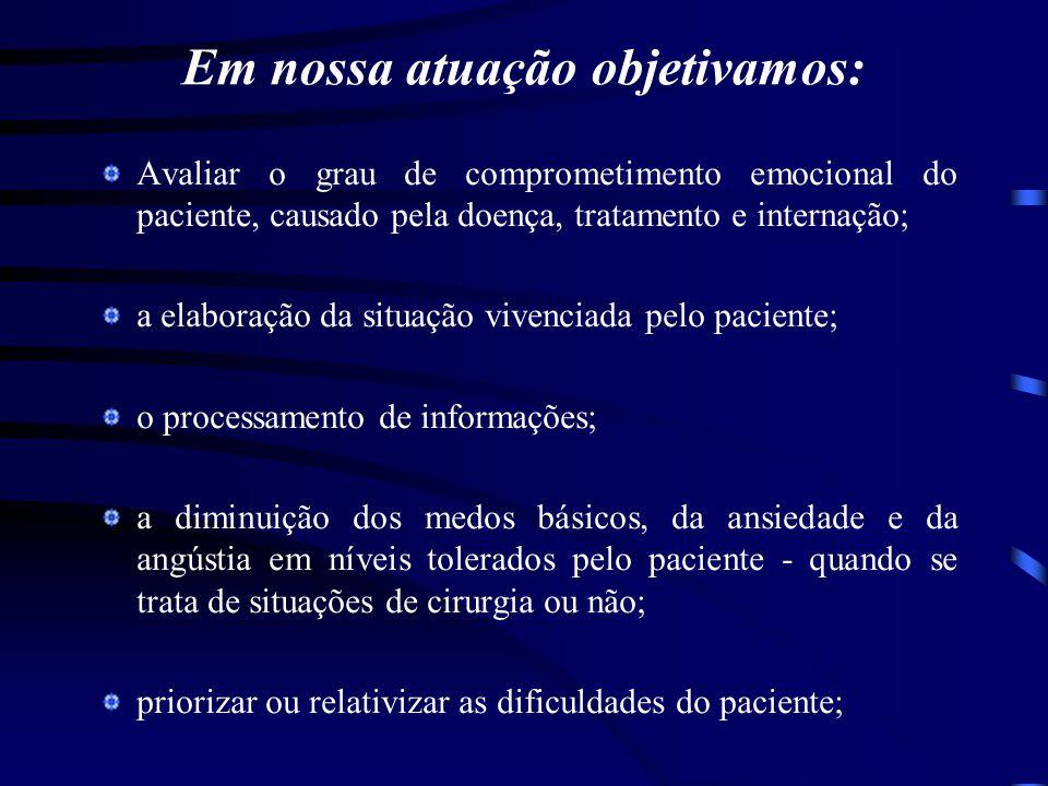 Em nossa atuação objetivamos: Avaliar o grau de comprometimento emocional do paciente, causado pela doença, tratamento e internação; a elaboração da s