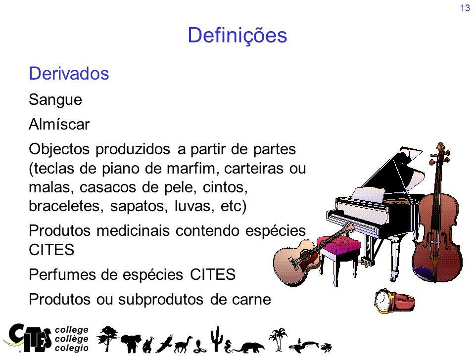 13 Derivados Sangue Almíscar Objectos produzidos a partir de partes (teclas de piano de marfim, carteiras ou malas, casacos de pele, cintos, bracelete