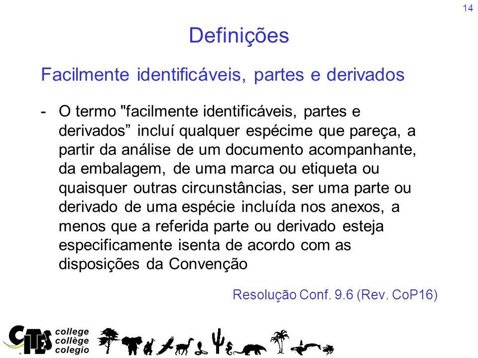 14 Definições Facilmente identificáveis, partes e derivados -O termo