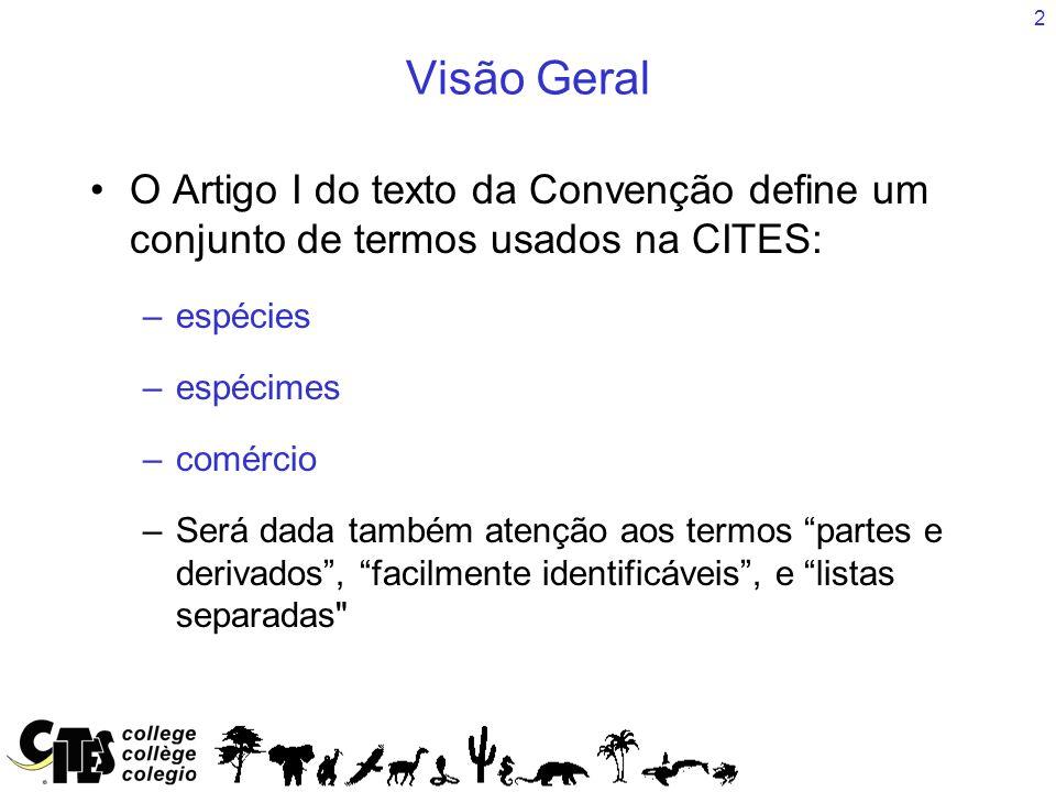 2 Visão Geral O Artigo I do texto da Convenção define um conjunto de termos usados na CITES: –espécies –espécimes –comércio –Será dada também atenção