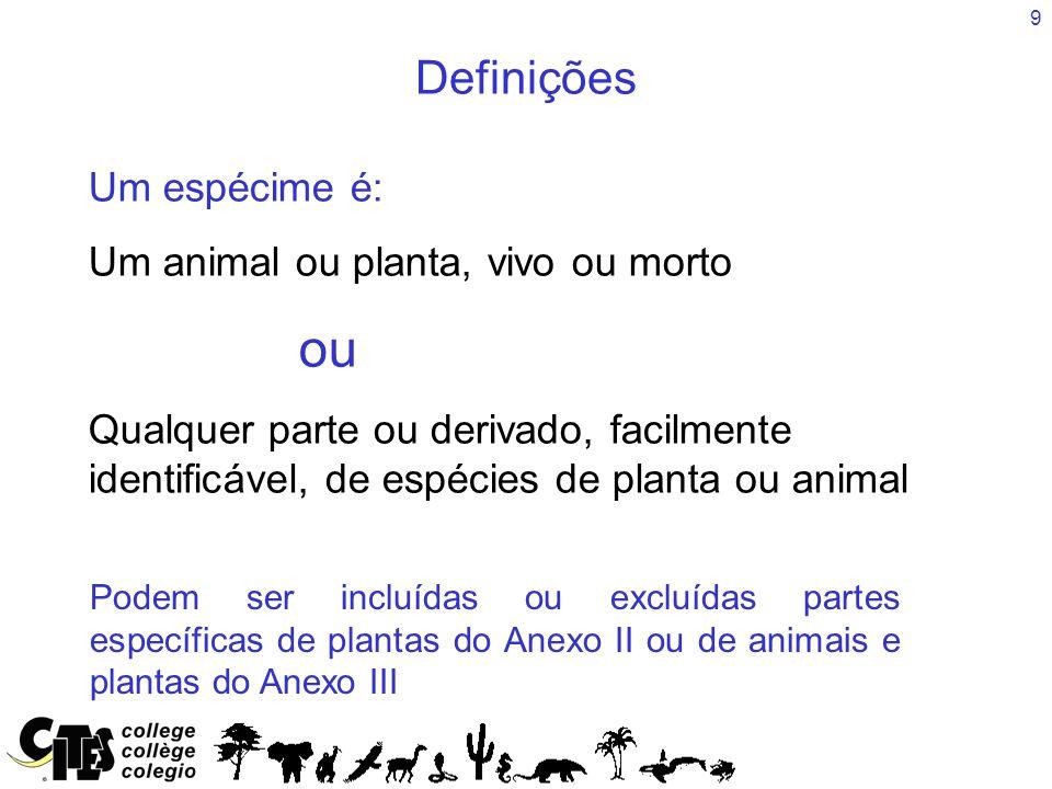 9 Um espécime é: Um animal ou planta, vivo ou morto ou Qualquer parte ou derivado, facilmente identificável, de espécies de planta ou animal Podem ser