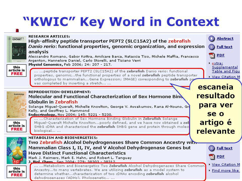 KWIC Key Word in Context escaneia resultado para ver se o artigo é relevante