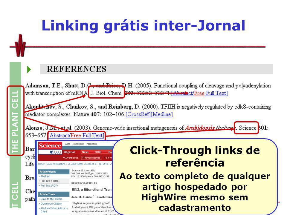 Linking grátis inter-Jornal Click-Through links de referência Ao texto completo de qualquer artigo hospedado por HighWire mesmo sem cadastramento