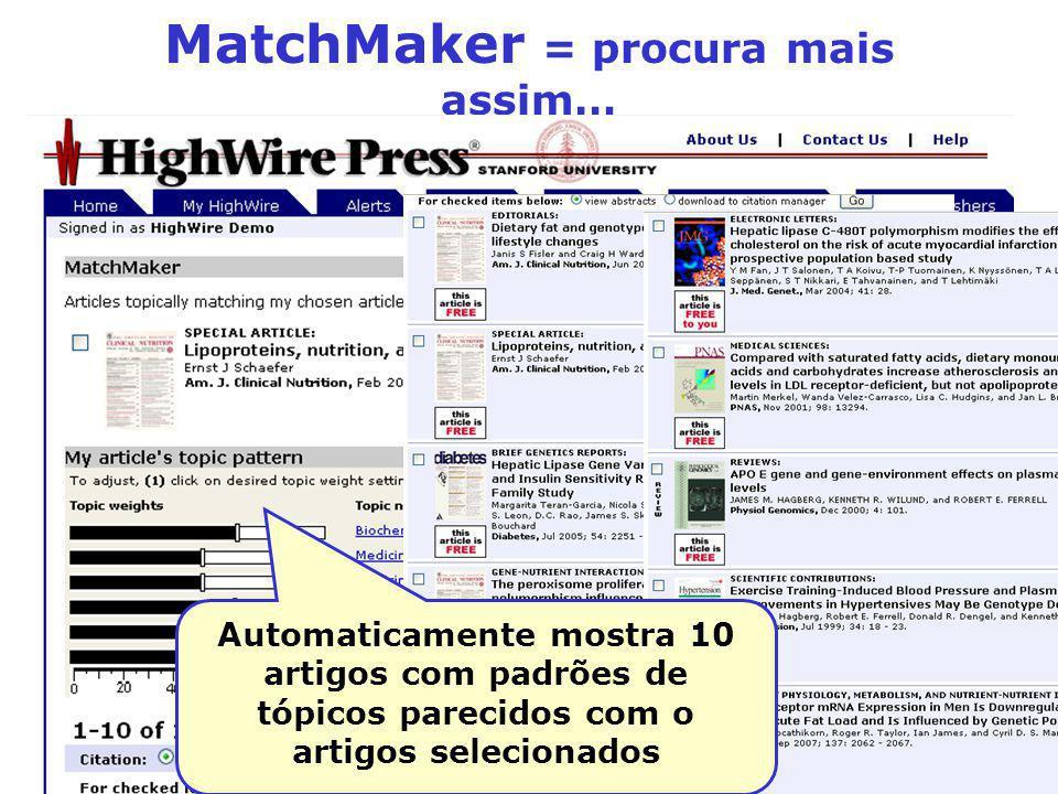 MatchMaker = procura mais assim… Automaticamente mostra 10 artigos com padrões de tópicos parecidos com o artigos selecionados