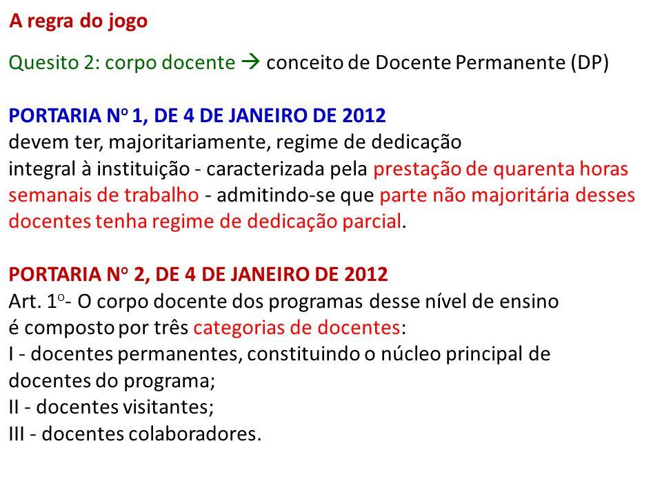 Quesito 2: corpo docente conceito de Docente Permanente (DP) PORTARIA N o 1, DE 4 DE JANEIRO DE 2012 devem ter, majoritariamente, regime de dedicação