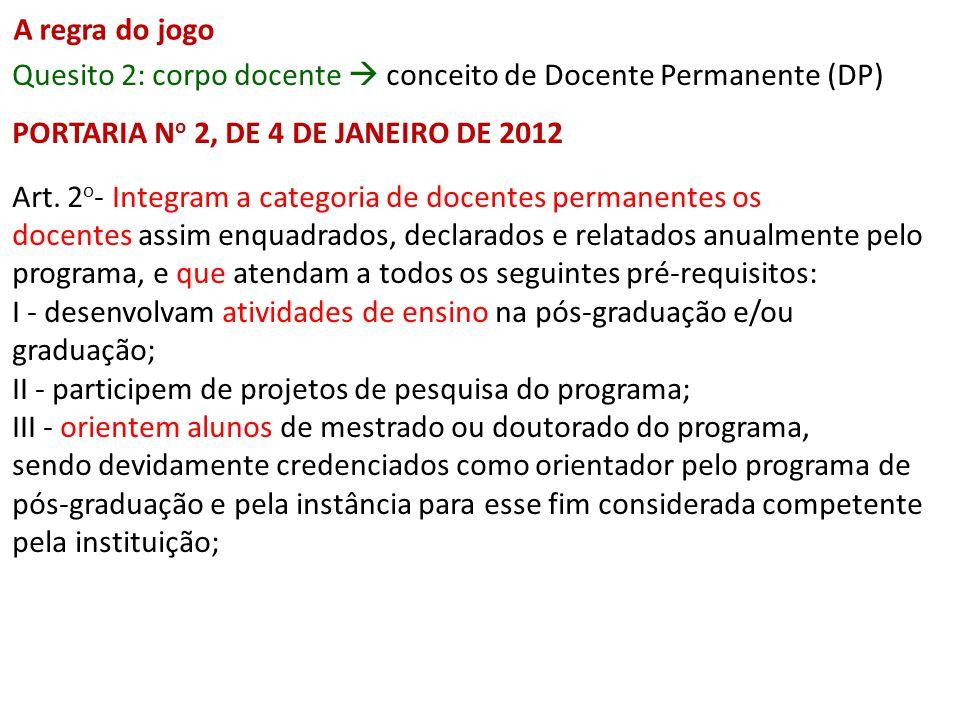 A regra do jogo Quesito 2: corpo docente conceito de Docente Permanente (DP) PORTARIA N o 2, DE 4 DE JANEIRO DE 2012 Art. 2 o - Integram a categoria d