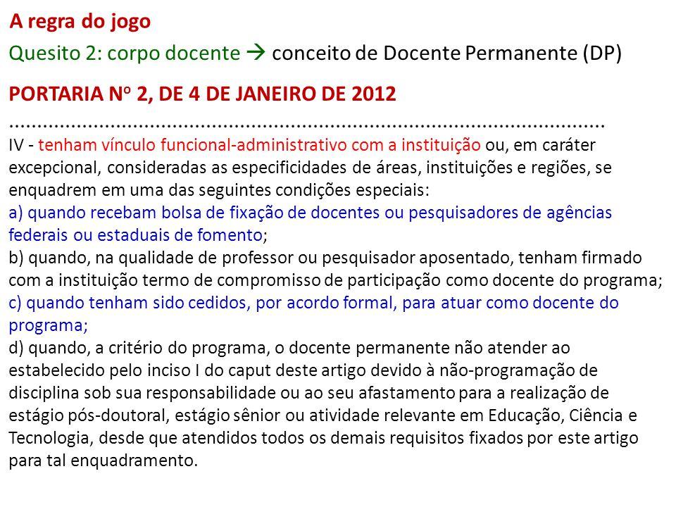 A regra do jogo Quesito 2: corpo docente conceito de Docente Permanente (DP) PORTARIA N o 2, DE 4 DE JANEIRO DE 2012..........................................................................................................
