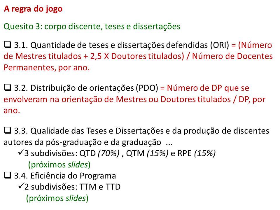 Quesito 3: corpo discente, teses e dissertações 3.1. Quantidade de teses e dissertações defendidas (ORI) = (Número de Mestres titulados + 2,5 X Doutor