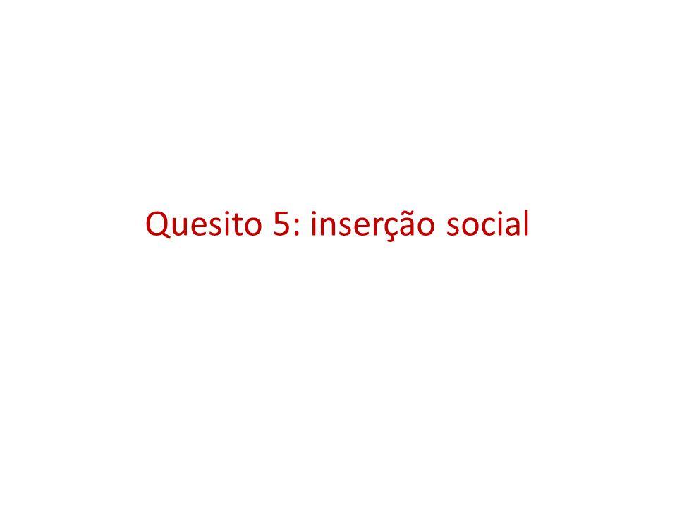 Quesito 5: inserção social
