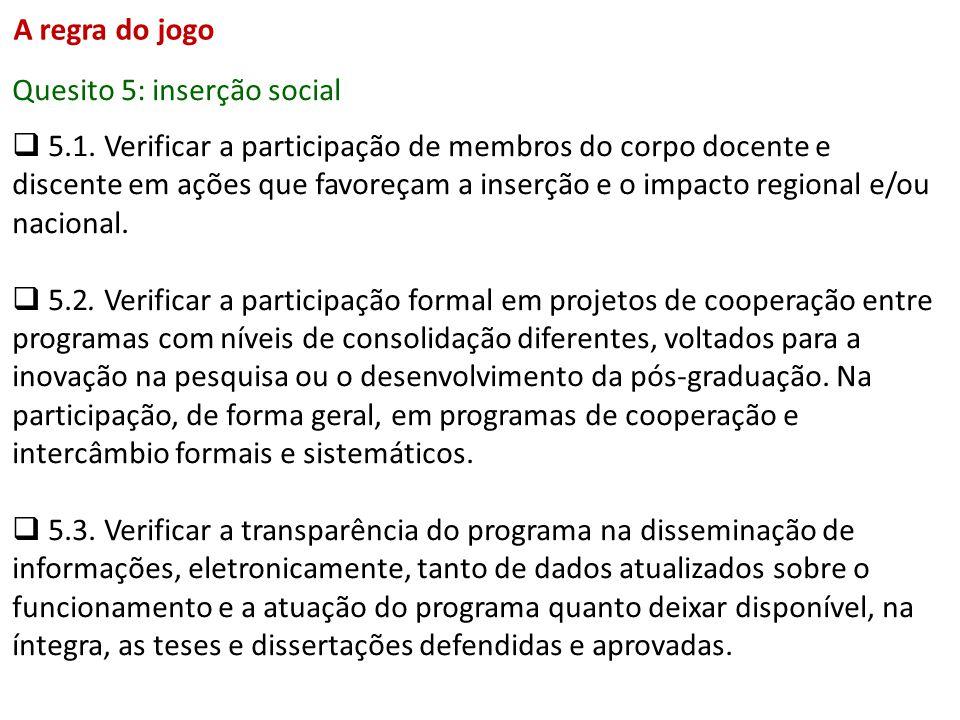 Quesito 5: inserção social 5.1. Verificar a participação de membros do corpo docente e discente em ações que favoreçam a inserção e o impacto regional