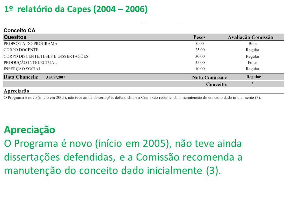 1º relatório da Capes (2004 – 2006) Apreciação O Programa é novo (início em 2005), não teve ainda dissertações defendidas, e a Comissão recomenda a manutenção do conceito dado inicialmente (3).