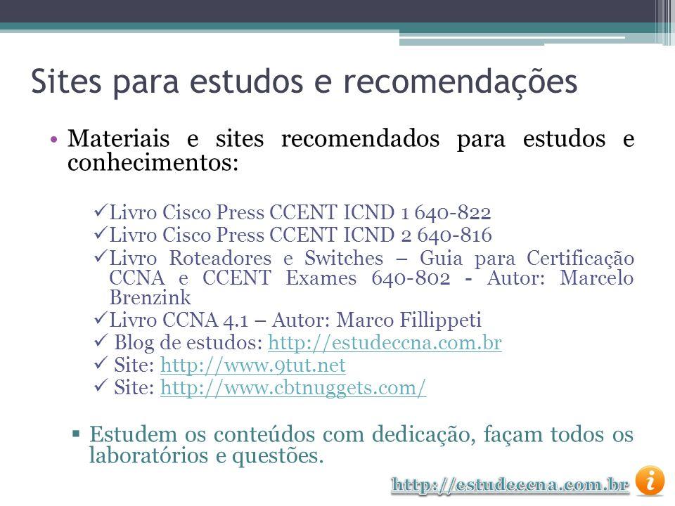 Sites para estudos e recomendações Materiais e sites recomendados para estudos e conhecimentos: Livro Cisco Press CCENT ICND 1 640-822 Livro Cisco Pre