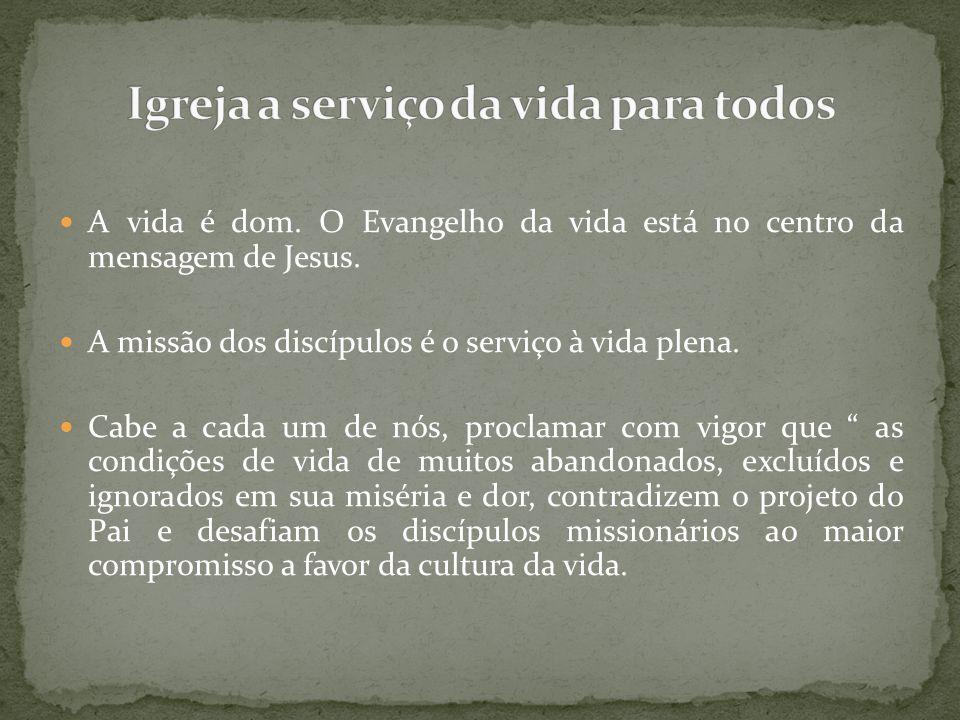 A vida é dom. O Evangelho da vida está no centro da mensagem de Jesus. A missão dos discípulos é o serviço à vida plena. Cabe a cada um de nós, procla