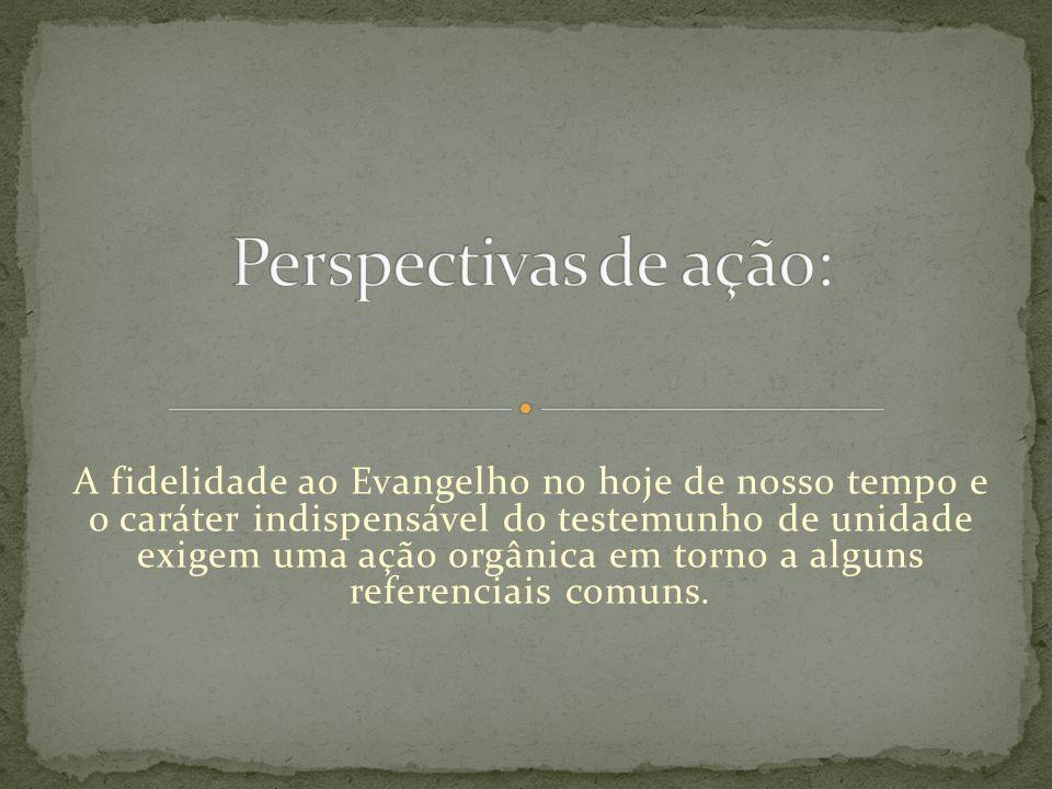 A fidelidade ao Evangelho no hoje de nosso tempo e o caráter indispensável do testemunho de unidade exigem uma ação orgânica em torno a alguns referen