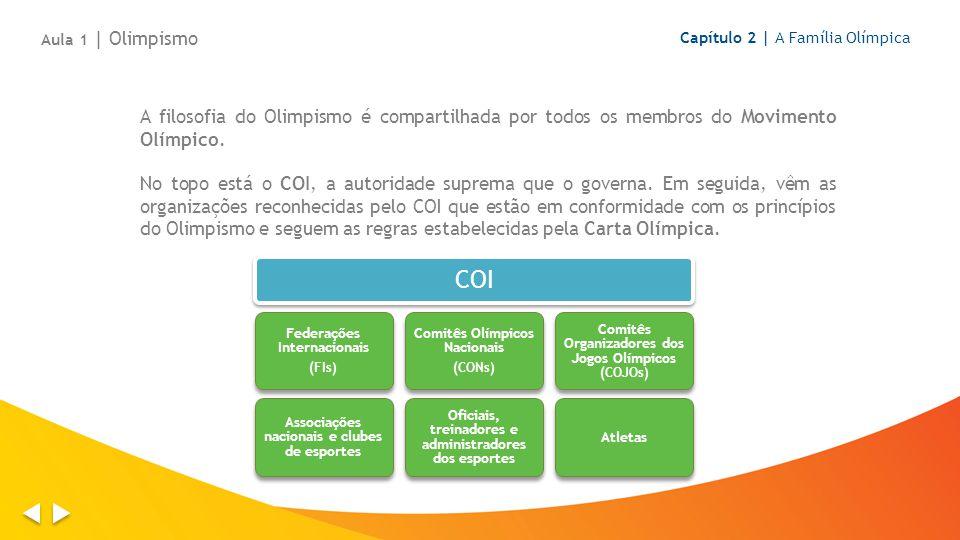 A filosofia do Olimpismo é compartilhada por todos os membros do Movimento Olímpico. No topo está o COI, a autoridade suprema que o governa. Em seguid