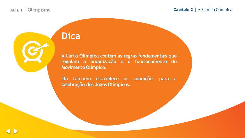 Dica A Carta Olímpica contém as regras fundamentais que regulam a organização e o funcionamento do Movimento Olímpico. Ela também estabelece as condiç