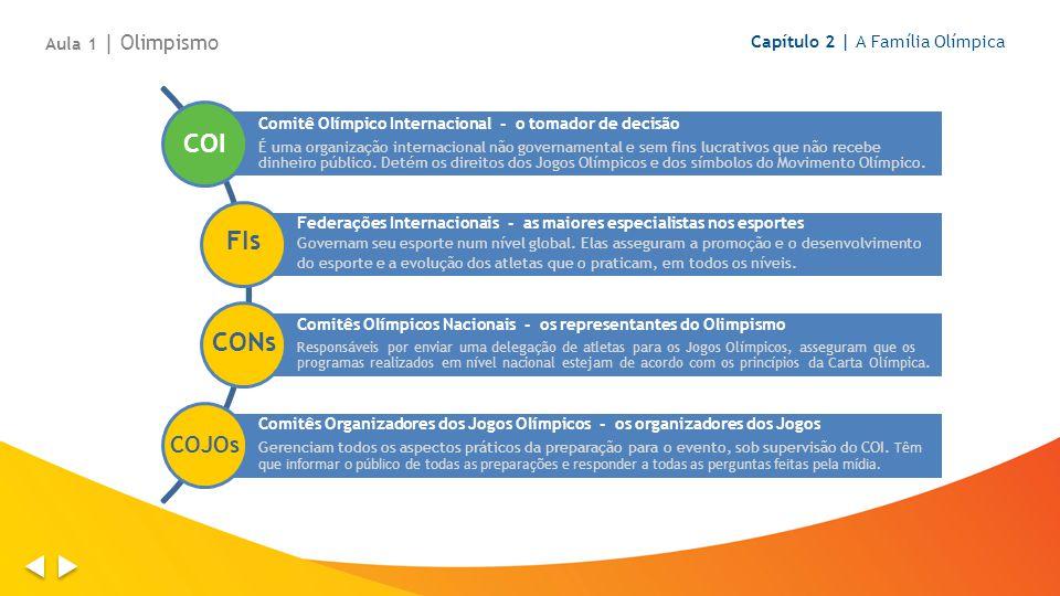 Aula 1 | Olimpismo Capítulo 2 | A Família Olímpica Comitê Olímpico Internacional - o tomador de decisão É uma organização internacional não governamental e sem fins lucrativos que não recebe dinheiro público.