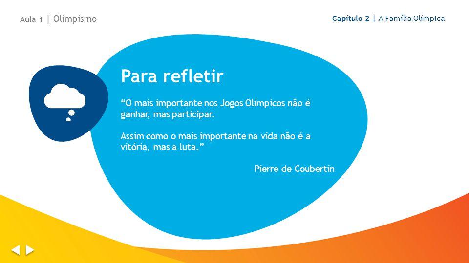 Para refletir O mais importante nos Jogos Olímpicos não é ganhar, mas participar.
