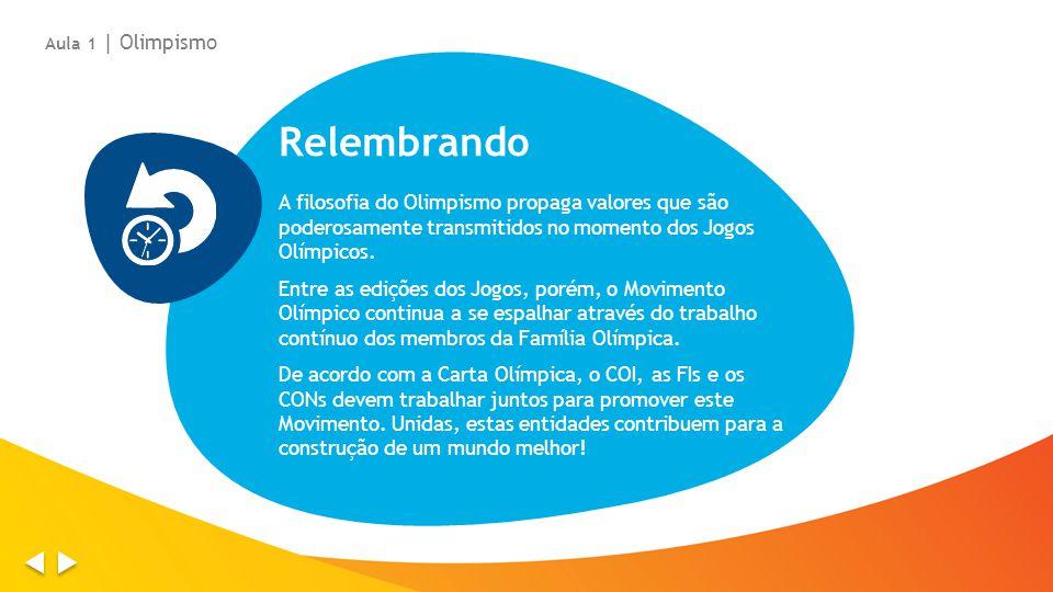 Relembrando A filosofia do Olimpismo propaga valores que são poderosamente transmitidos no momento dos Jogos Olímpicos. Entre as edições dos Jogos, po