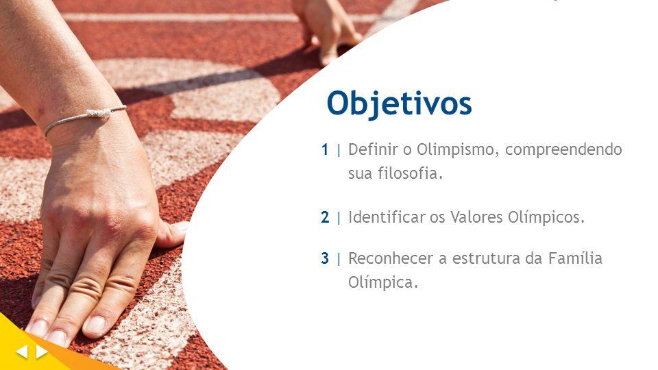 Objetivos 1 |1 | Definir o Olimpismo, compreendendo sua filosofia. 2 | Identificar os Valores Olímpicos. 3 | Reconhecer a estrutura da Família Olímpic