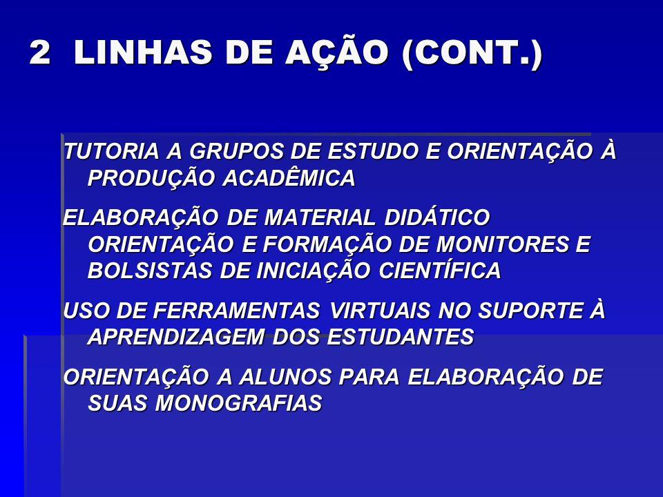 2 LINHAS DE AÇÃO (CONT.) TUTORIA A GRUPOS DE ESTUDO E ORIENTAÇÃO À PRODUÇÃO ACADÊMICA ELABORAÇÃO DE MATERIAL DIDÁTICO ORIENTAÇÃO E FORMAÇÃO DE MONITORES E BOLSISTAS DE INICIAÇÃO CIENTÍFICA USO DE FERRAMENTAS VIRTUAIS NO SUPORTE À APRENDIZAGEM DOS ESTUDANTES ORIENTAÇÃO A ALUNOS PARA ELABORAÇÃO DE SUAS MONOGRAFIAS