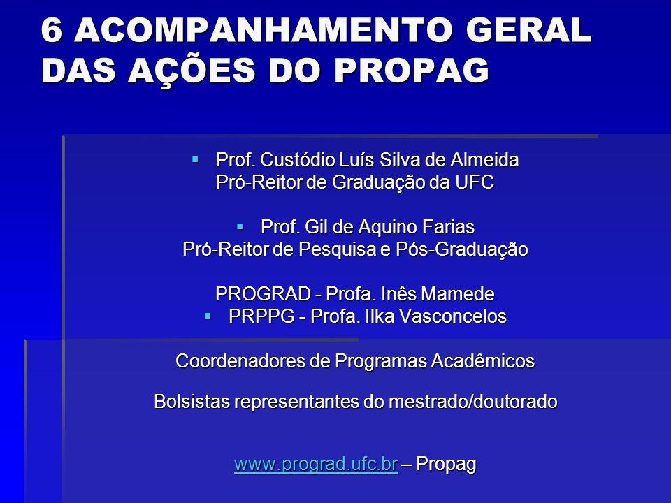 6 ACOMPANHAMENTO GERAL DAS AÇÕES DO PROPAG Prof. Custódio Luís Silva de Almeida Prof.