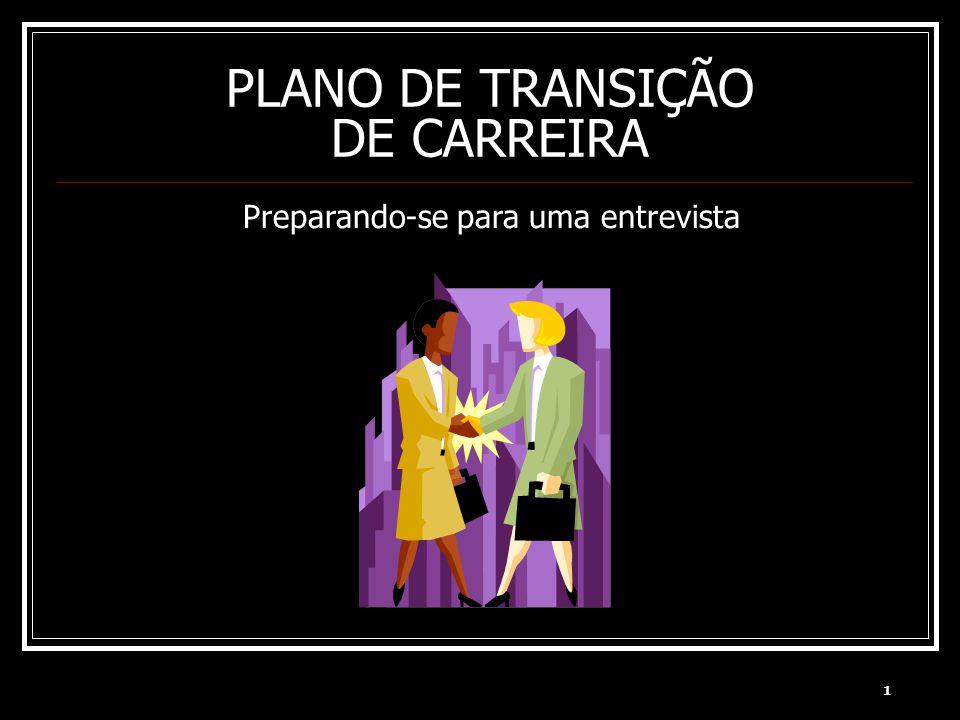 1 PLANO DE TRANSIÇÃO DE CARREIRA Preparando-se para uma entrevista