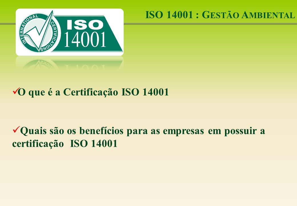 ISO 14001 : G ESTÃO A MBIENTAL O que é a Certificação ISO 14001 Quais são os benefícios para as empresas em possuir a certificação ISO 14001