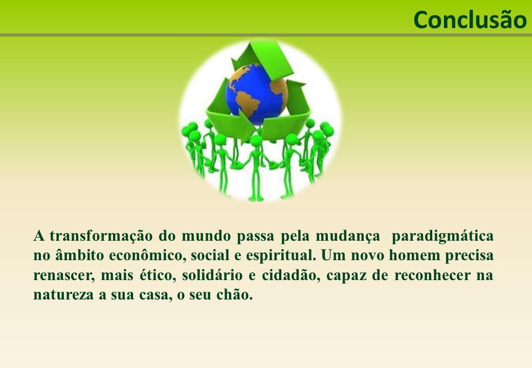 Conclusão A transformação do mundo passa pela mudança paradigmática no âmbito econômico, social e espiritual.