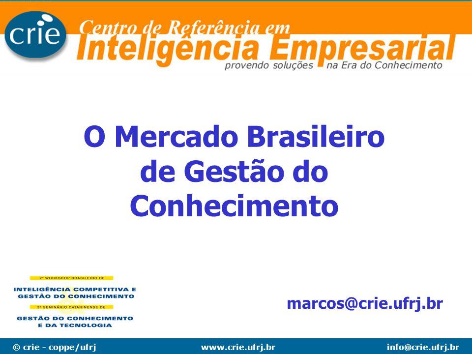 © crie - coppe/ufrjinfo@crie.ufrj.brwww.crie.ufrj.br A PESQUISA - conclusão Tamanho do mercado: 3,5% do faturamento das 100 maiores R$ 5,56 bilhões