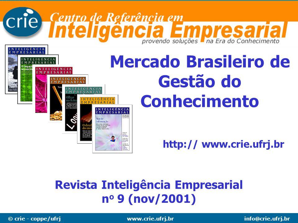 © crie - coppe/ufrjinfo@crie.ufrj.brwww.crie.ufrj.br Mercado Brasileiro de Gestão do Conhecimento Revista Inteligência Empresarial n o 9 (nov/2001) ht