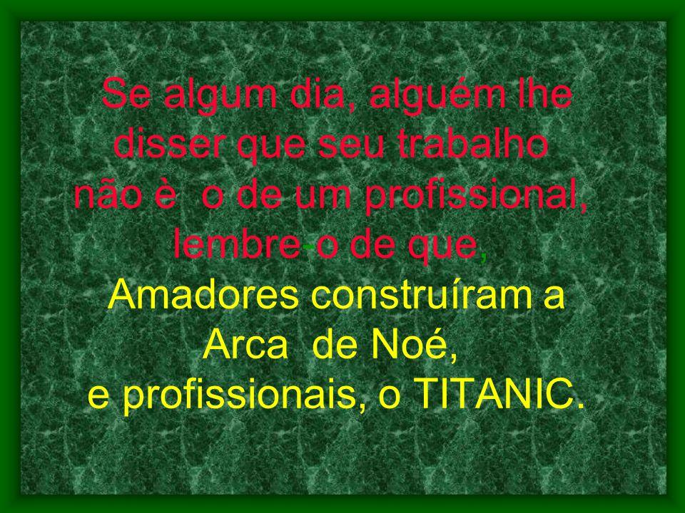 Se algum dia, alguém lhe disser que seu trabalho não è o de um profissional, lembre-o de que, Amadores construíram a Arca de Noé, e profissionais, o T