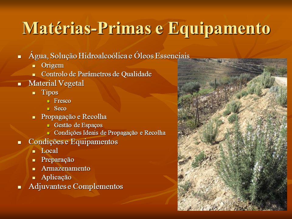 Matérias-Primas e Equipamento Água, Solução Hidroalcoólica e Óleos Essenciais Água, Solução Hidroalcoólica e Óleos Essenciais Origem Origem Controlo d