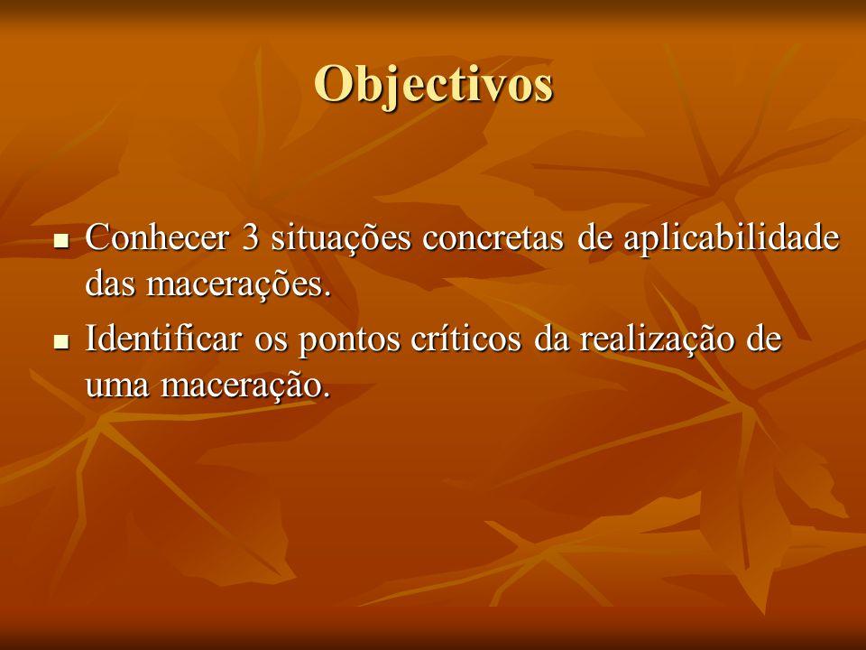 Objectivos Conhecer 3 situações concretas de aplicabilidade das macerações.
