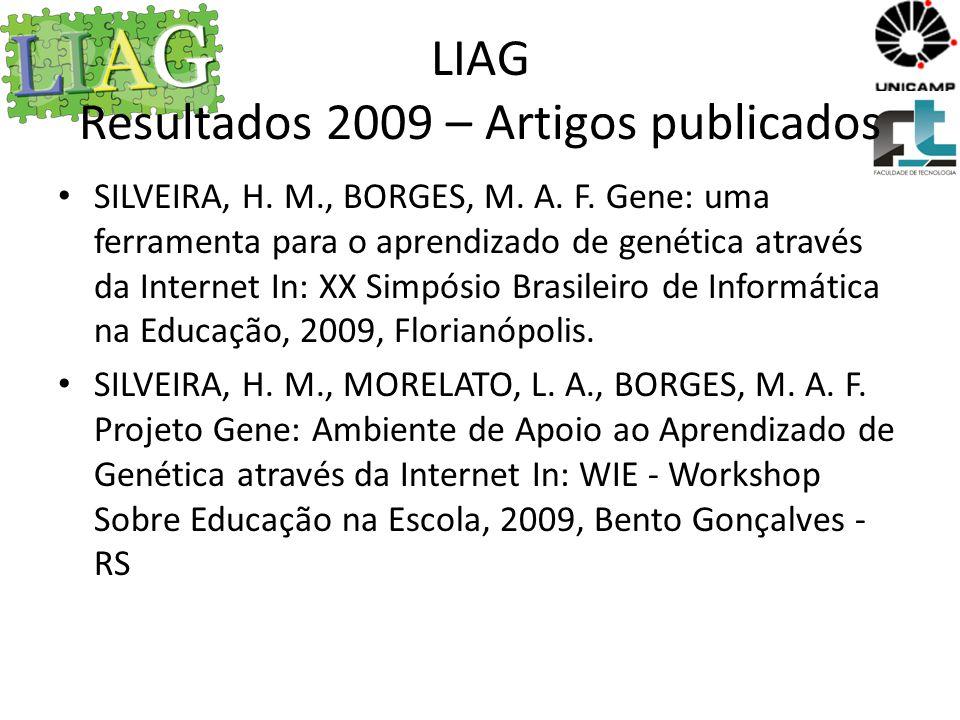 LIAG Resultados 2010 – Artigos publicados Implementação de Maquete Tátil Sonora para Pessoas com Deficiência Visual , Bruno Bastos (UNICAMP), João D Abreu (UNICAMP), Marcos Borges (UNICAMP), Cristiane Ferreira (UNICAMP), Daniel Rizzieri (NIED).