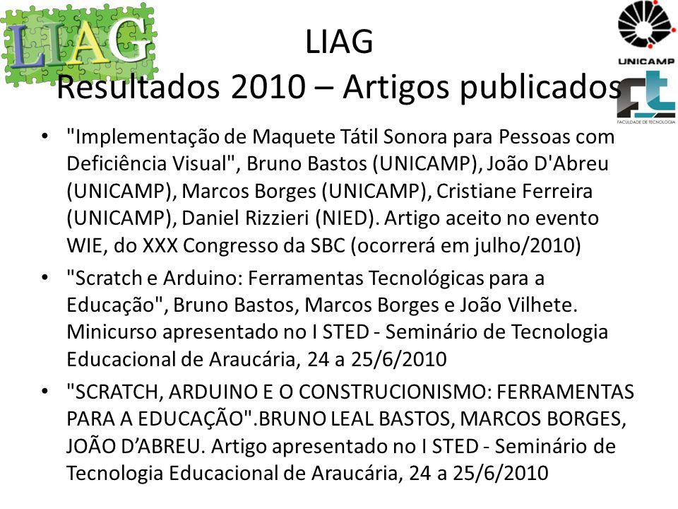LIAG Resultados 2010 – Artigos publicados Pôster LabsLife no SBIE Mini-curso no SBIE – Revista Práticas em Informática na Educação (http://www.br-ie.org/pub/index.php/pie)http://www.br-ie.org/pub/index.php/pie