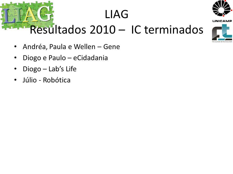 LIAG Resultados 2011 – IC terminados Márcio – Labs Life Renato - Robótica