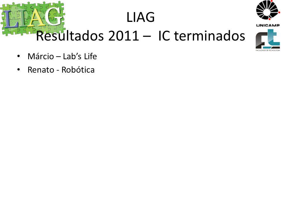 LIAG Resultados 2011 – IC/MSc Iniciados Robótica – Jonatas – PIBIC Gene - Gustavo Hemofilia – Samuel, Renan e Roberta
