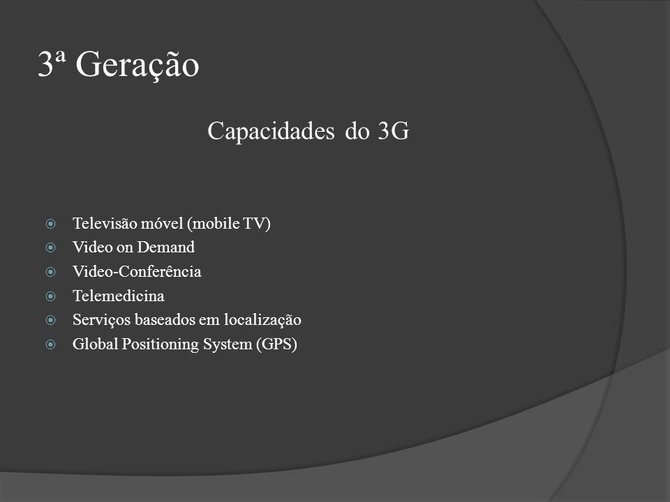 3ª Geração Televisão móvel (mobile TV) Video on Demand Video-Conferência Telemedicina Serviços baseados em localização Global Positioning System (GPS)