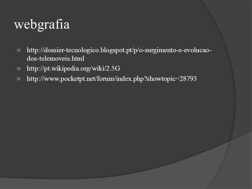 webgrafia http://dossier-tecnologico.blogspot.pt/p/o-surgimento-e-evolucao- dos-telemoveis.html http://pt.wikipedia.org/wiki/2.5G http://www.pocketpt.