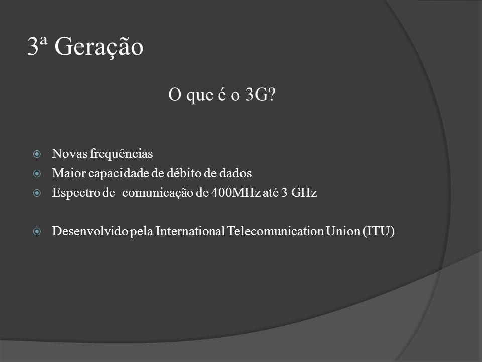 3ª Geração Novas frequências Maior capacidade de débito de dados Espectro de comunicação de 400MHz até 3 GHz Desenvolvido pela International Telecomun