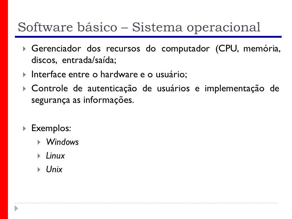 Software básico – Sistema operacional Gerenciador dos recursos do computador (CPU, memória, discos, entrada/saída; Interface entre o hardware e o usuário; Controle de autenticação de usuários e implementação de segurança as informações.