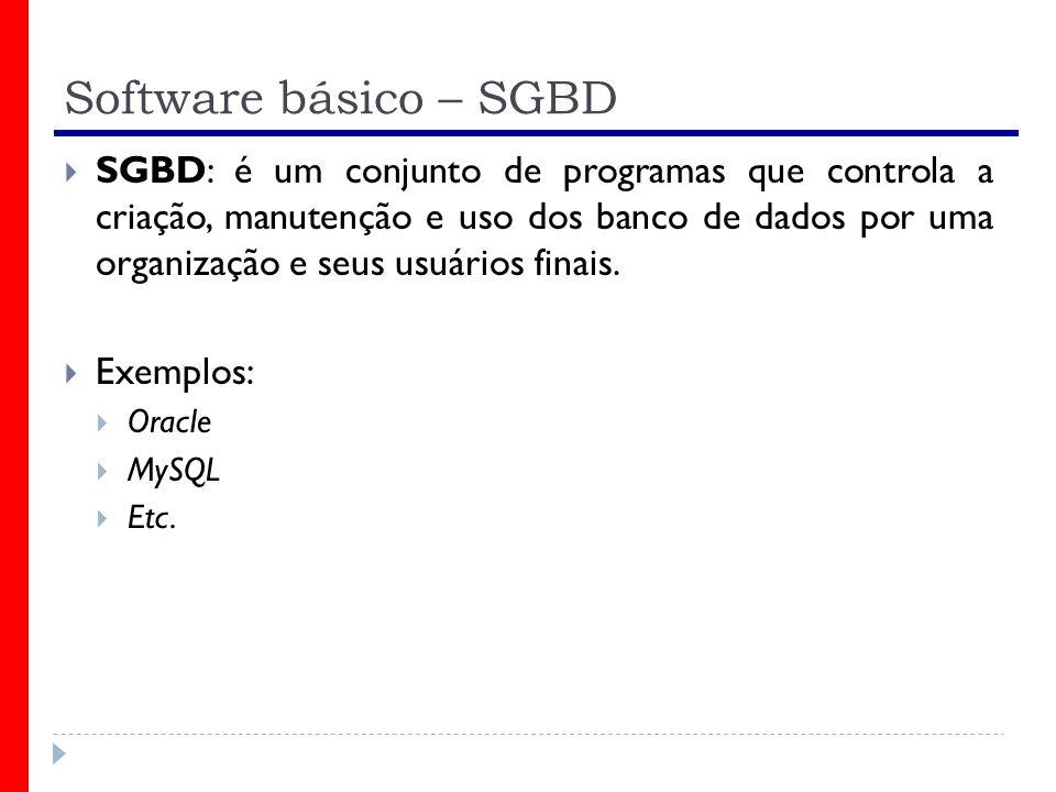 Software básico – SGBD SGBD: é um conjunto de programas que controla a criação, manutenção e uso dos banco de dados por uma organização e seus usuários finais.