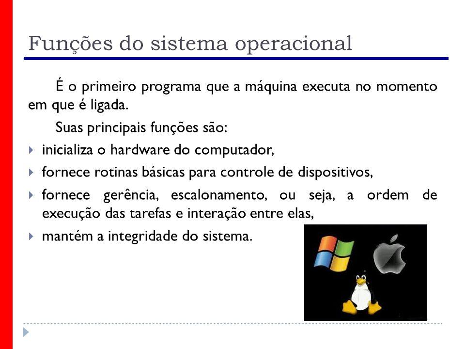 Funções do sistema operacional É o primeiro programa que a máquina executa no momento em que é ligada. Suas principais funções são: inicializa o hardw
