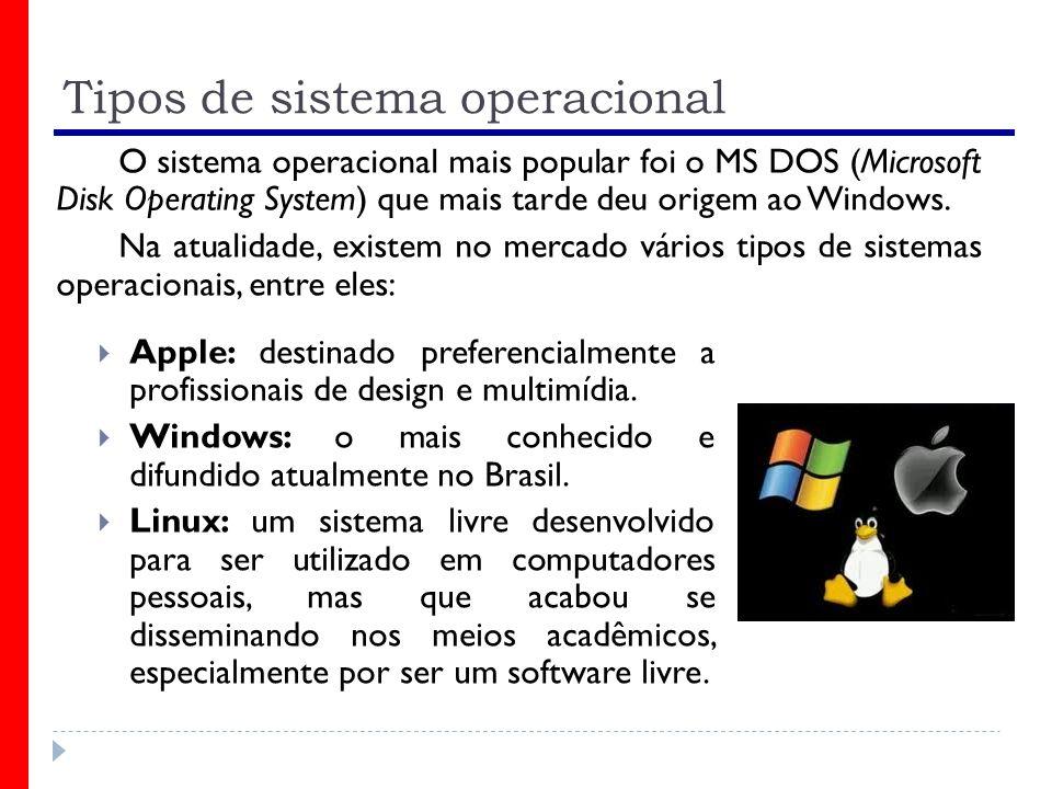 Tipos de sistema operacional Apple: destinado preferencialmente a profissionais de design e multimídia. Windows: o mais conhecido e difundido atualmen