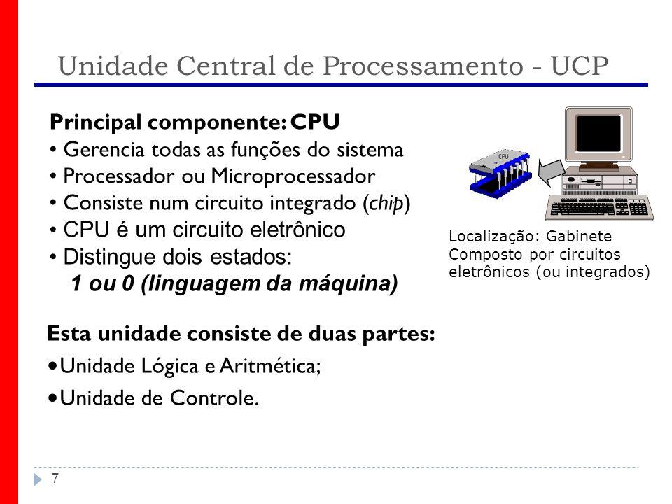 Unidade Central de Processamento - UCP 7 Principal componente: CPU Gerencia todas as funções do sistema Processador ou Microprocessador Consiste num circuito integrado (chip) CPU é um circuito eletrônico Distingue dois estados: 1 ou 0 (linguagem da máquina) Esta unidade consiste de duas partes: Unidade Lógica e Aritmética; Unidade de Controle.