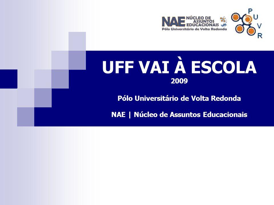 UFF VAI À ESCOLA 2009 Pólo Universitário de Volta Redonda NAE | Núcleo de Assuntos Educacionais