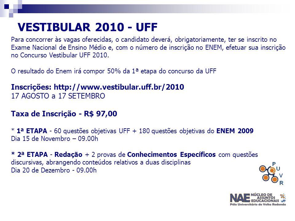 VESTIBULAR 2010 - UFF Para concorrer às vagas oferecidas, o candidato deverá, obrigatoriamente, ter se inscrito no Exame Nacional de Ensino Médio e, c
